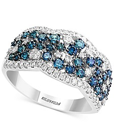 EFFY® Shades of Bleu  Diamond Cluster Band (1-1/5 ct. t.w.) in 14k White Gold