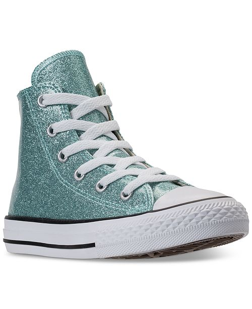 3b07497bbd0c6 ... Converse Little Girls  Chuck Taylor High Top Glitter Casual Sneakers  from Finish ...
