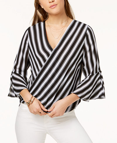 BCX Juniors' Striped Wrap Top