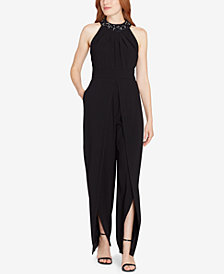 Tahari Beaded High-Neck Jumpsuit