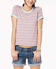 Hippie Rose Juniors' Striped Ringer T-Shirt