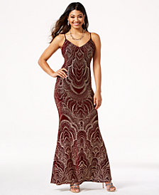 Jump Juniors' Low-Back Glitter Slip Gown