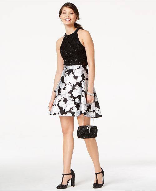 Speechless Juniors' Lace & Floral-Print Fit & Flare Dress, Created for Macy's