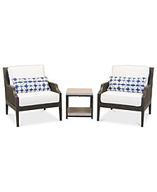 Fiji Aluminum Outdoor 3-Pc. Seating Set (2 Accent Club Chairs & 1 End Table) with Sunbrella® Cushions, Created for Macy's