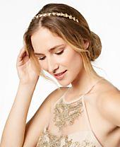 I.N.C. Gold-Tone Mixed Metal Leaf Elastic Headband, Created for Macy's