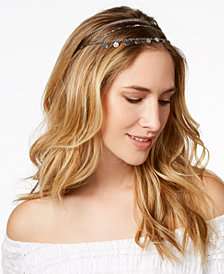 I.N.C. Silver-Tone Mixed Metal Elastic Headband, Created for Macy's