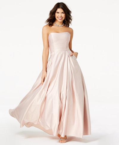 Blondie Nites Juniors' Embellished Strapless Gown