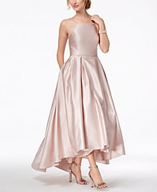 Betsy & Adam Petite Satin High-Low Gown