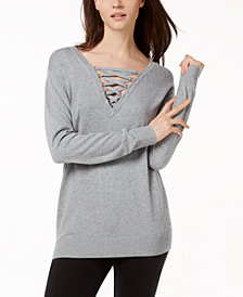 MICHAEL Michael Kors Hardware Lace-Up Sweater