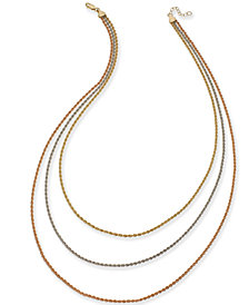 Tri-Color Triple Rope Chain Necklace in 14k Gold, White Gold & Rose Gold