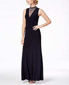 Vince Camuto Embellished Mock-Neck Gown