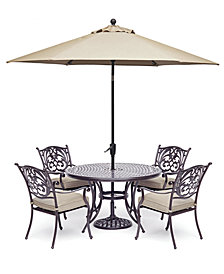 "Chateau Outdoor Aluminum 5-Pc. Set (48"" Round Dining Table & 4 Dining Chairs) with Sunbrella® Cushions, Created For Macy's"