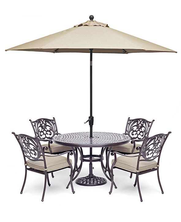 """Furniture Chateau Outdoor Aluminum 5-Pc. Set (48"""" Round Dining Table & 4 Dining Chairs) with Sunbrella® Cushions, Created for Macy's"""