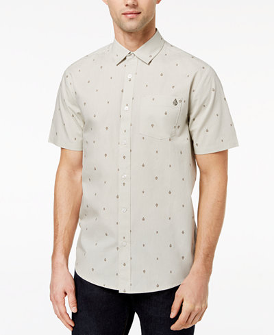 Volcom Men's Logo-Print Button-Down Shirt