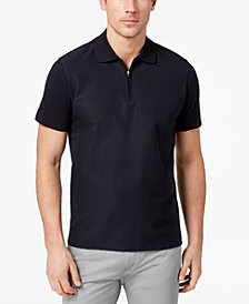 Ryan Seacrest Distinction™ Men's Slim-Fit Navy Textured 1/4-Zip Polo, Created for Macy's