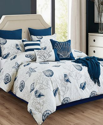 Deandra 10-Pc. Seashell-Print Full Comforter Set