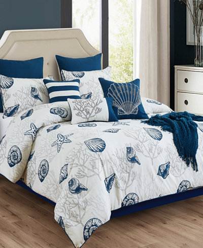 Deandra 10-Pc. Seashell-Print Queen Comforter Set