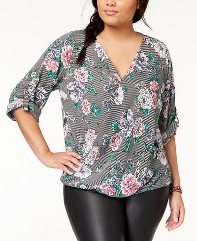 BCX Trendy Plus Size Printed Tab-Sleeve Blouse