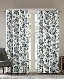 Camille Textured Floral-Print Room Darkening Window Panels