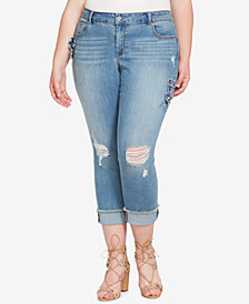 Jessica Simpson Trendy Plus Size Ripped Floral-Appliqué Skinny Jeans