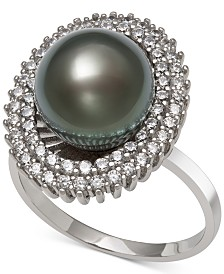 Black Cultured Tahitian Pearl (10mm) & Cubic Zirconia Ring in Sterling Silver