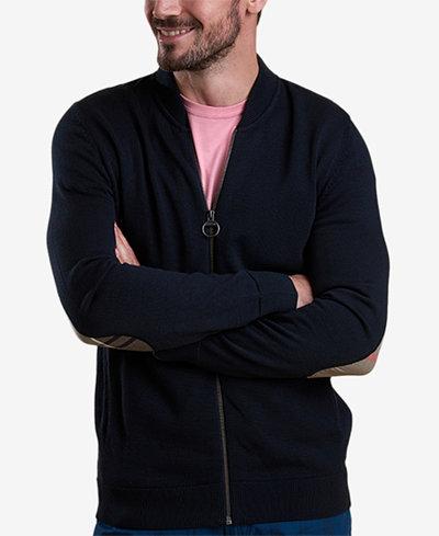 Barbour Men's Blair Navy Full-Zip Sweater with Tartan Elbow Patches