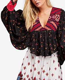 Free People Lady Lou Embroidered Peasant Blouse