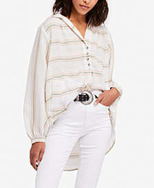 Free People Rolling Clouds Cotton Hooded Blouse