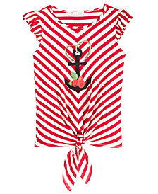Monteau Anchor Striped Tie-Front Top, Big Girls