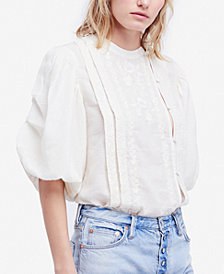 Free People Sweet Romance Embroidered Puffed-Sleeve Top