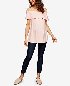 Isabella Oliver Maternity Ruffled Off-The-Shoulder Top