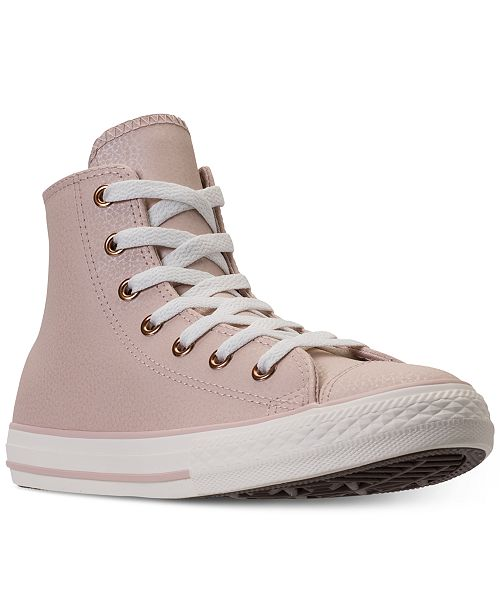 ... Converse Big Girls  Chuck Taylor High Top Leather Casual Sneakers from  Finish ... 61c2ead8d