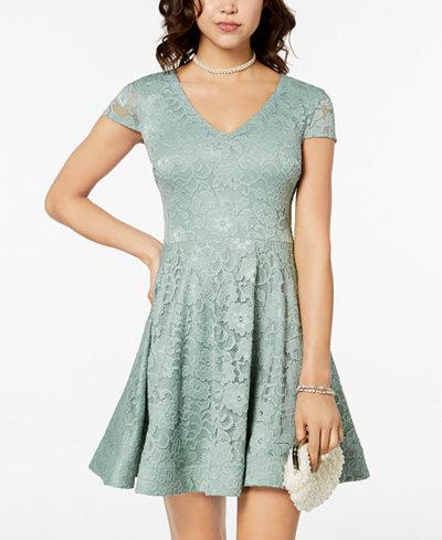 B Darlin Juniors' Tie-Back Lace Fit & Flare Dress