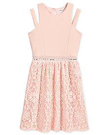 Monteau Embellished-Waist Dress, Big Girls