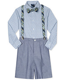 Nautica 4-Pc. Bow Tie, Shirt, Suspenders & Chambray Shorts Set, Toddler Boys