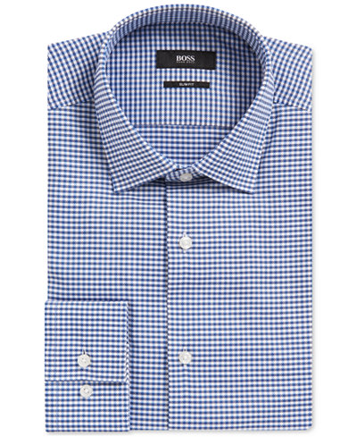 BOSS Men's Slim-Fit Gingham Cotton Dress Shirt