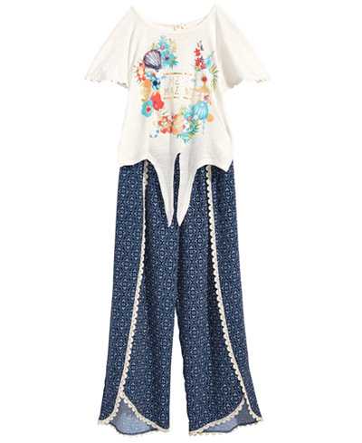Belle Du Jour 2-Pc. Printed Tie-Front Top & Tulip Palazzo Pants Set, Big Girls