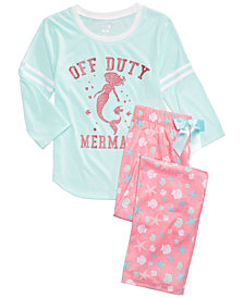 Max & Olivia Mermaid Graphic-Print Pajama Top & Pants Separates, Little & Big Girls