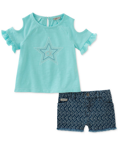 Calvin Klein 2-Pc. Cold Shoulder T-Shirt & Shorts Set, Little Girls