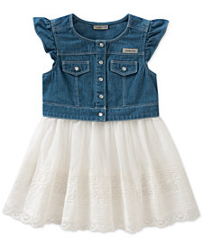Calvin Klein Cotton Denim Poplin Dress, Little Girls