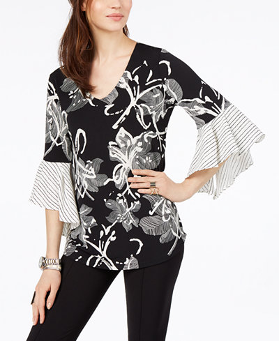 Alfani Petite Ruffled-Sleeve Top, Created for Macy's