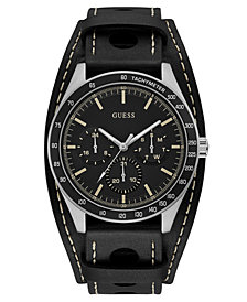 GUESS Men's Black Leather Strap Watch 44mm