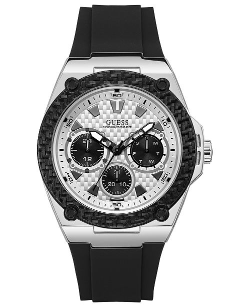 197732f67 GUESS Men's Black Silicone Strap Watch 45mm & Reviews - Watches ...