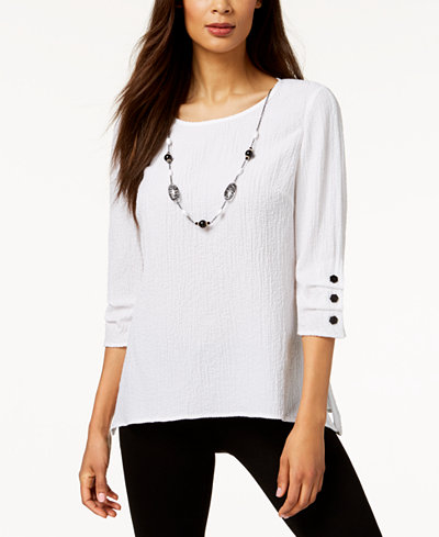 JM Collection Petite 3/4-Sleeve Crinkle Necklace Top, Created for Macy's