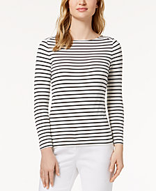 Anne Klein Striped Boat-Neck Top
