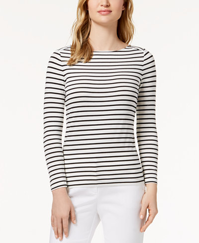 Anne Klein Striped Boat-Neck Top