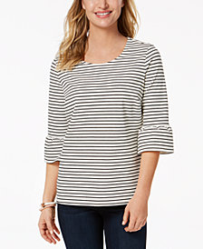 Charter Club Petite Striped Bell-Sleeve Top, Created for Macy's