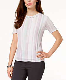 Alfred Dunner Petite Roman Holiday Striped Embellished Top