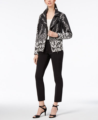 Alfani Faux-Leather Printed Moto Jacket & Cropped Straight-Leg Pants, Created for Macy's