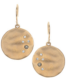 Kenneth Cole New York Earrings, Gold-Tone Crystal Circle Drop